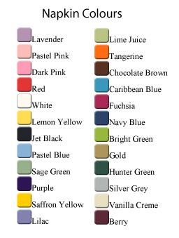 Personalised Napkin Colours