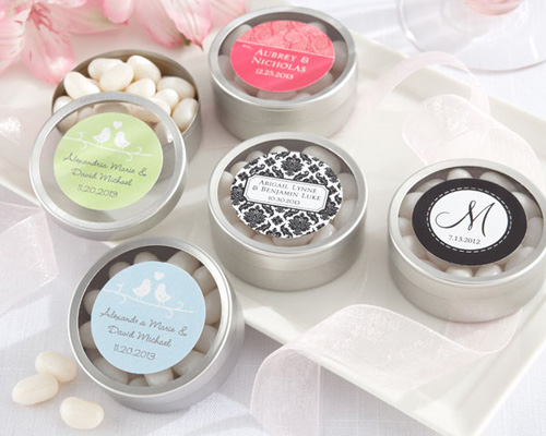 Simply Sweet Round Personalised Candy Tin (set of 12)-Simply Sweet Round Personalised Candy Tin, wedding bomboniere, kate aspen, mint tins, bonboniere, personalised bomboniere,