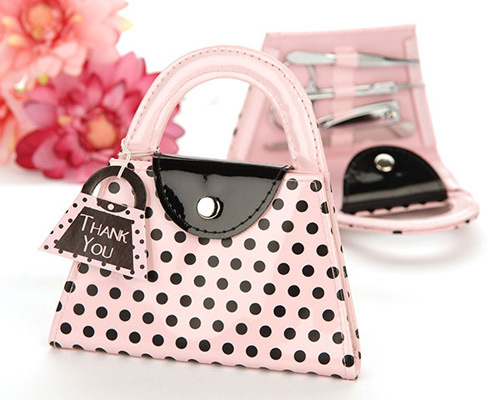 'Pink Polka Purse' Manicure Set-Manicure set, handbag gift, pink polka purse manicure set, bridal shower gift, kitchen tea gift, bomboniere, wedding bomboniere, bonboniere, unique gift, unique wedding gift, polka dot, pink purse