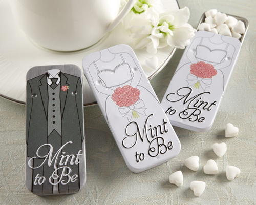 """Mint to Be"" Bride and Groom Slide Mint Tins with Heart Mints-Mint to Be Bride and Groom Slide Mint Tins with Heart Mints, wedding mints in tin, bride tin mints, groom mint tin"