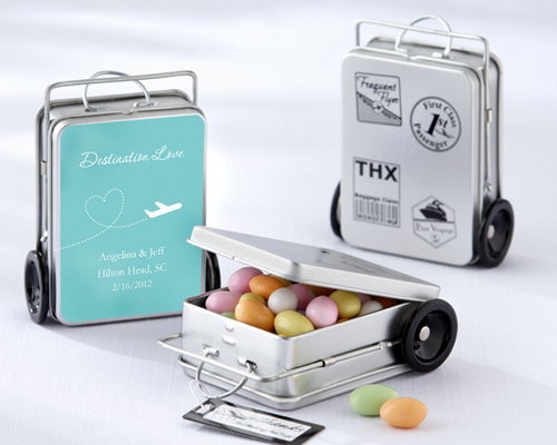 Miles of Memories Suitcase Favour Tins with Personalised Labels (Set of 12)-Miles of Memories Suitcase Favour Tins with Personalised Labels (Set of 12), mini suitcase bomboniere, suitcase mint tins,