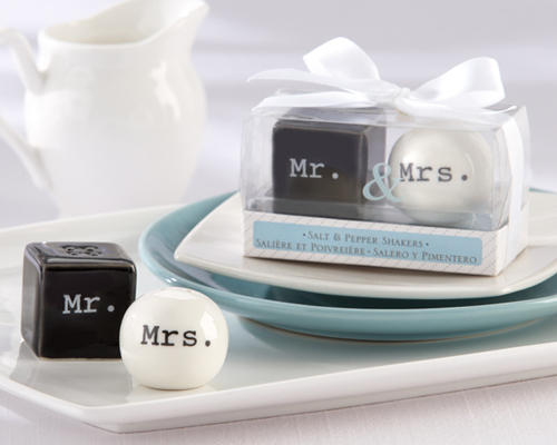 """Mr. & Mrs."" Ceramic Salt & Pepper Shakers-Mr. & Mrs. Ceramic Salt & Pepper Shakers, wedding bomboniere, salt & pepper shakers wedding gift,"