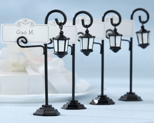 """Bourbon Street"" Streetlight Place Card Holder with Coordinating Place Cards (Set of 4)-Bourbon Street Streetlight Place Card Holder, Wedding Bomboniere, Place Card, Street light"
