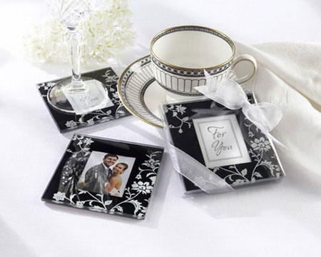 """Timeless Traditions"" Elegant Black & White Glass Photo Coasters-Bomboniere, wedding gifts, bonbonniere, unique bomboniere, black and white bomboniere, coasters, coaster bomboniere"