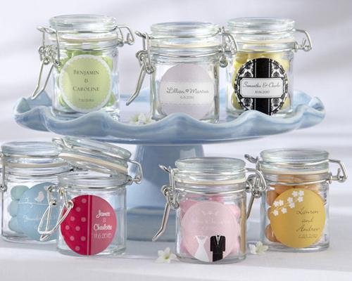 Personalised Glass Favour Jars (Set of 12)-Personalised Glass Favour Jars, candy jar, bomboniere, glass jar, wedding, flip top jar, sweet 16, engagement, bridal shower, baby shower