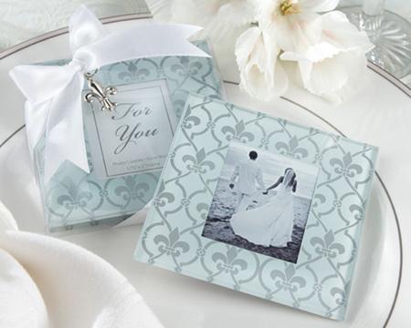 """""""Fleur de Lis"""" Frosted Glass Photo Coasters (Set of 2)-Fleur De Lis Frosted Glass Photo Coaster, Coaster, Glass, Bomboniere, bonboniere, reception gift"""