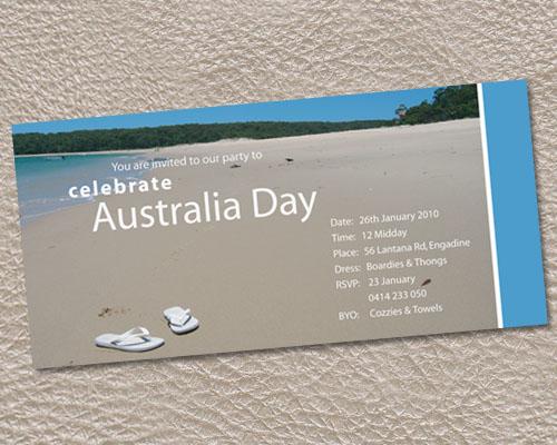 Flip Flops on the beach Australia Day Invitation-Australia Day invitation