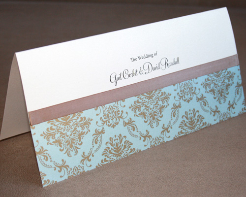 Aqua Damask Invitation-DL wedding invitation, landscape invitation, damask invitation, metallic paper