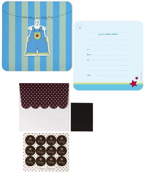 Paper Eskimo Baby Occasion invitation Blue Overall (Pack of 12)-Paper Eskimo Baby Birthday invitation, paper eskimo christening invitation, paper eskimo baby boy invitation, Paper eskimo blue overall invitation