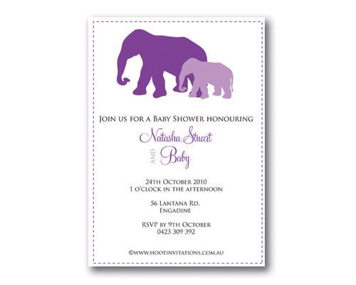 Baby Elephants Purple-Baby Shower Invitation, purple baby shower invitation, baby elephants invitation, unisex baby shower invitation, baby shower invite, gender neutral baby shower invitation, mother and baby invitation