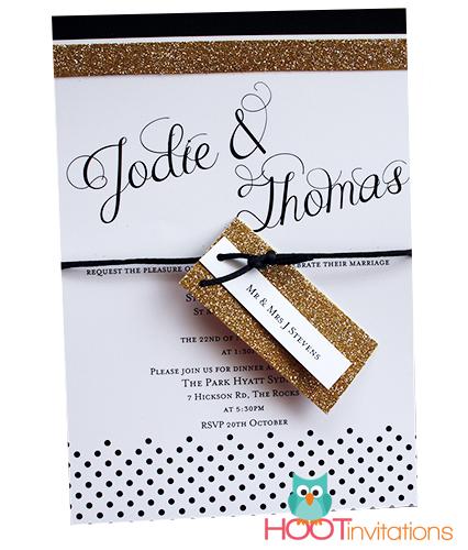 Black and Gold Glitter invitation-Gold glitter invitation, black and gold invitation, glitter wedding invitation
