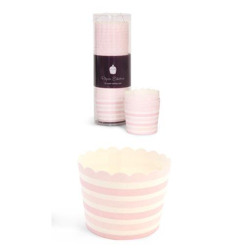 Paper Eskimo Pink Blush Stripe Baking Cup Cupcake Wrapper-Paper Eskimo Pink Blush Stripe Baking Cup Cupcake Wrapper, pink stripe cupcake Wrapper, pink stripe baking cups, little girls party