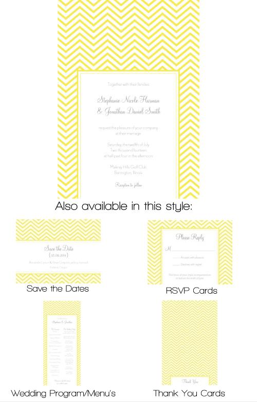 Chevron Wedding Invitation - Yellow-Yellow chevron invitation, chevron wedding invitation, engagement chevron invitation, modern yellow invitation