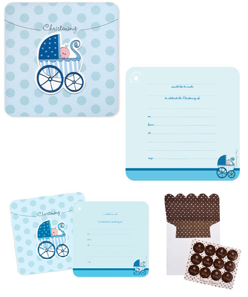 Paper Eskimo Christening Invitation Blue Pram (pack of 12)-Paper Eskimo Christening Invitation Blue pram, Boys Christening invitation, unique christening invitation, paper eskimo invitation, designer christening invitation