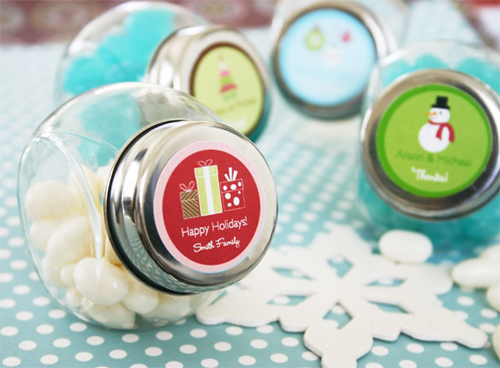 Christmas Candy Jar Favours-Christmas Candy Favour Jar, personalised christmas lolly jar, A Winter Holiday Candy Jars