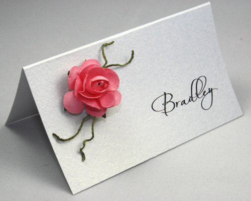 Elegant Rose Place Card-Place Card pink, place card paper rose,
