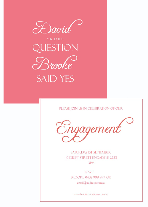 Engagement Invitation- He asked She said yes!-Engagement invitation, watermelon coloured invitation, groom asked the question bride said yes, simple engagement invitation, custom engagement invitation