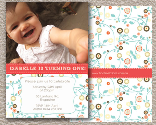 Pink with Gypsy Flowers-First Birthday invitation, age birthday invitation, girls birthday invitation, unique girls invitation, photo invitation