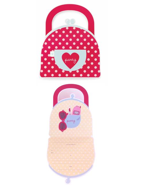 Paper Eskimo Handbag Invitation-Paper Eskimo Handbag Invitation, girls handbag invitation, girls party invitation,
