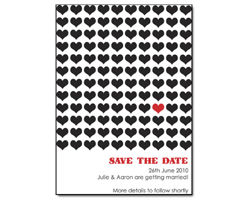 One Heart Save the Date-Save the Date Card, Hearts save the date, red and black save the date, heart inspired save the date