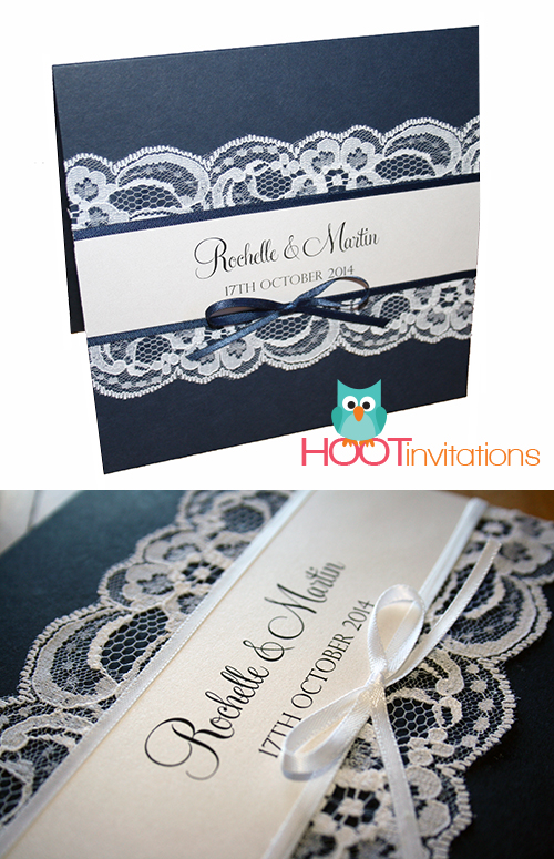 Navy Blue Lace Invitation-navy blue invitation, white lace, invite, wedding invitation, navy blue ribbon, dark blue, elegant invitation