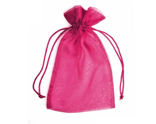 Organza Bag Fuchsia Hot Pink (Pack of 10)-Organza bag, chiffon bag, high quality organza bag, Fuchsia Hot Pink organza bag, premium organza bag, wedding favour, wedding bomboniere, christening favour, christening bonbonniere, vandoros organza bag, jewellery organza bag, bonbonniere, bombonniere, bomboniere