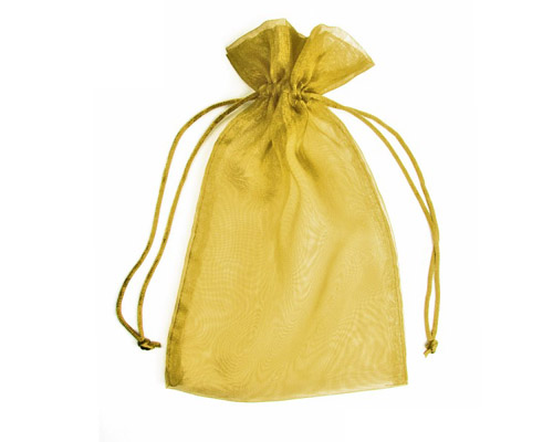 Organza Bag Gold (Pack of 10)-Organza bag, chiffon bag, high quality organza bag, gold organza bag, premium organza bag, wedding favour, wedding bomboniere, christening favour, christening bonbonniere, vandoros organza bag, jewellery organza bag, bonbonniere, bombonniere, bomboniere
