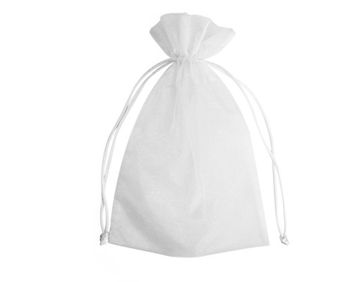 Organza Bag White (Pack of 10)-Organza bag, chiffon bag, high quality organza bag, white organza bag, premium organza bag, wedding favour, wedding bomboniere, christening favour, christening bonbonniere, vandoros organza bag, jewellery organza bag, bonbonniere, bombonniere, bomboniere