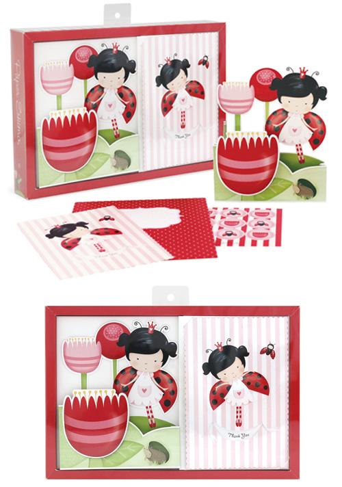Paper Eskimo Poppit Queen Beetle Invitation Kit (Pack of 12)-Paper Eskimo Poppit invitation Queen Beetle, ladybug invitation, ladybird invitation, lady beetle invitation, girls party invitation, garden party invitation, kids party invitation, kids birthday invitation, kids party invites