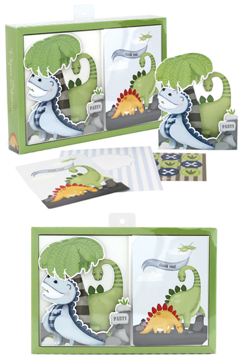 Paper Eskimo Poppit Big Foot Dino Invitation Kit (Pack of 12)-Paper Eskimo Poppit invitation big foot dino, dinosaur invitation, monster invitation, boys party invitation, dinosaur party invitation, kids party invitation, kids birthday invitation, kids party invites