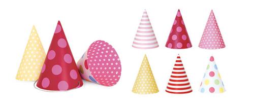 Paper Eskimo Party Hats Girls-Paper Eskimo Party Hats, Party hats girls, pink party hats, cone party hats,