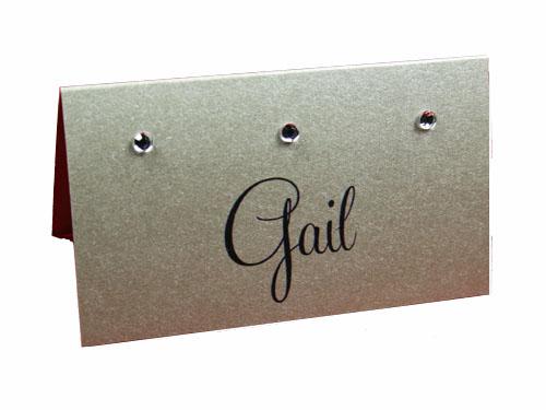 Platinum Gems Silver Place Card-Place Card, wedding place card, unique place cards, placecards, silver place card, crystal place card, rhinestone place card,