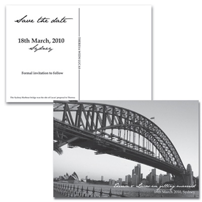 Harbour Bridge Postcard-Save the date, save the date postcard, harbour bridge save the date, australian save the date