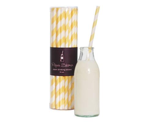 Paper Eskimo Paper Straws Limoncello (50/pack)-Paper eskimo paper straws limoncello, yellow stripe straws, retro paper straws