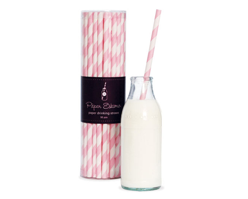 Paper Eskimo Paper Straws Marshmellow Pink-Pink paper strawsPaper eskimo paper straws marshmallow Pink, pink stripe straws, retro paper straws
