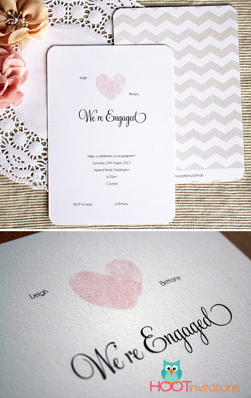 Thumbprint Heart Engagement Invitation-Thumbprint Heart invitation, thumbprint engagement invitation, thumbprint wedding invitation