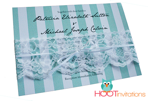 Tiffany Blue Stripes and Lace Invitation-Wedding Invitation, tiffany blue stripe invitation, white lace invitation, aqua and white invitation, turquoise and white invitation