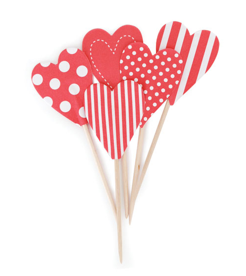 Paper Eskimo Red Candy Cane Heart Cupcake Topper-Paper eskimo cupcake topper red candy cane hearts, red cupcake heart topper, toothpick cupcake topper red, valentines day cupcake topper