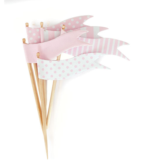 Paper Eskimo Marshmallow Pink Cupcake Toppers-pink cupcake topper, Paper eskimo cupcake topper marshmallow pink flags, pink cupcake flags,