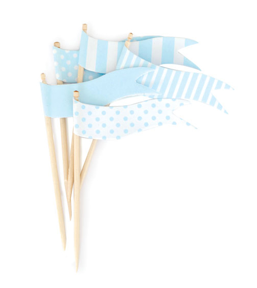 Paper Eskimo Powder Blue Cupcake Topper Flags-Paper eskimo cupcake topper powder blue flags, blue cupcake flags,