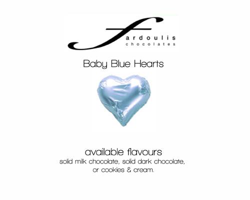 Baby Blue Foiled Hearts-Fardoulis chocolate foiled Hearts, chocolate hearts, foil hearts, wedding confectionery, wedding chocolate, bomboniere, bonbonniere, fine chocolate, luxury bomboniere, luxury chocolate, baby blue chocolate
