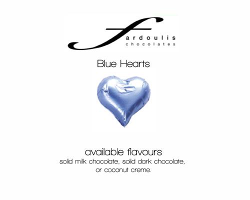 Blue Foiled Hearts-Fardoulis chocolate foiled Hearts, chocolate hearts, foil hearts, wedding confectionery, wedding chocolate, bomboniere, bonbonniere, fine chocolate, luxury bomboniere, luxury chocolate, blue chocolate