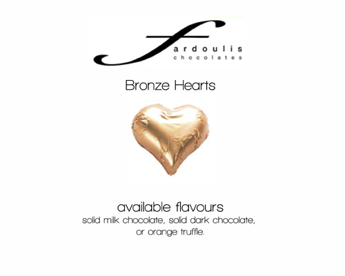 Bronze Foiled Hearts-Fardoulis chocolate foiled Hearts, chocolate hearts, foil hearts, wedding confectionery, wedding chocolate, bomboniere, bonbonniere, fine chocolate, luxury bomboniere, luxury chocolate, bronze hearts, bronze Chocolate, brown confectinery