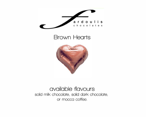 Brown Foiled Hearts-Fardoulis chocolate foiled Hearts, chocolate hearts, foil hearts, wedding confectionery, wedding chocolate, bomboniere, bonbonniere, fine chocolate, luxury bomboniere, luxury chocolate, brown chocolate, brown hearts