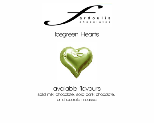 Ice Green Foiled Hearts-Fardoulis chocolate foiled Hearts, chocolate hearts, foil hearts, wedding confectionery, wedding chocolate, bomboniere, bonbonniere, fine chocolate, luxury bomboniere, luxury chocolate, ice green chocolate, green chocolate