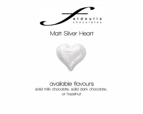 Matt Silver Foiled Hearts-Fardoulis chocolate foiled Hearts, chocolate hearts, foil hearts, wedding confectionery, wedding chocolate, bomboniere, bonbonniere, fine chocolate, luxury bomboniere, luxury chocolate