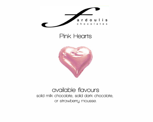 Pink Foiled Hearts-Fardoulis chocolate foiled Hearts, chocolate hearts, foil hearts, wedding confectionery, wedding chocolate, bomboniere, bonbonniere, fine chocolate, luxury bomboniere, luxury chocolate, pink chocolates, pink hearts, pink confectionery