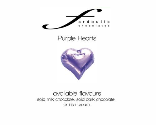 Purple Foiled Hearts-Fardoulis chocolate foiled Hearts, chocolate hearts, foil hearts, wedding confectionery, wedding chocolate, bomboniere, bonbonniere, fine chocolate, luxury bomboniere, luxury chocolate