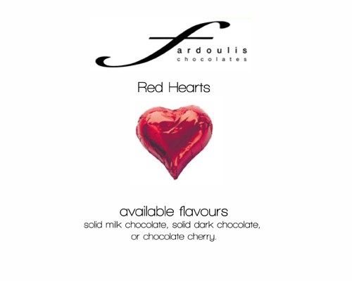 Red Foiled Hearts-Fardoulis chocolate foiled Hearts, chocolate hearts, foil hearts, wedding confectionery, wedding chocolate, bomboniere, bonbonniere, fine chocolate, luxury bomboniere, luxury chocolate, red heart chocolate, red chocolate