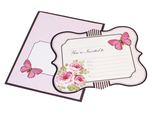HiPP Invitation Kit Fleur (Pack of 25)-HiPP Invitation Kit Fleur, floral pink invitation kit, DIY Invitation, fill in invitation, shabby chic invitation kit, vintage pink invitation kit.